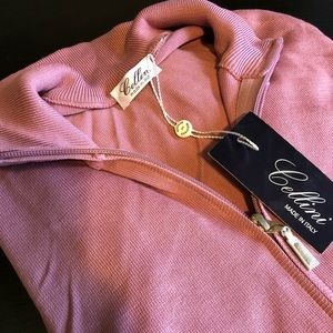 Cellini Italian Full Zip Knit Mauve 50
